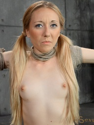 Little blonde bound in metal bondage, pic #6