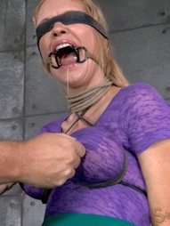 Bound busty blonde does epic deepthroat, pic #9