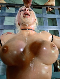 Big titted blonde ziptied onto a sybian, pic #4