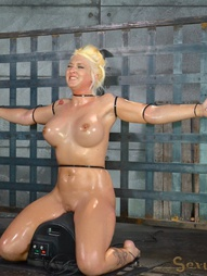 Big titted blonde ziptied onto a sybian, pic #5