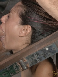 Sexy brunette strictly restrained in stocks, pic #13