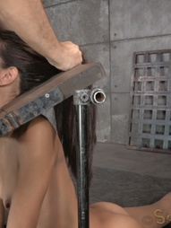 Sexy brunette strictly restrained in stocks, pic #6