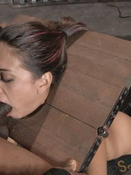 Sexy brunette strictly restrained in stocks, pic #9